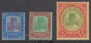 1921 Malaya Trengganu $1 to $5, Sultan Suleiman, set of 3, SG 23 - 25, MH