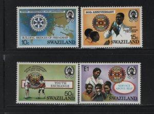 SWAZILAND 471-474 (4) Set, Hinged, 1985 Rotary Emblem