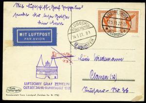 GERMANY FRIEDRICHSHAFEN 5/12/31 RUNDFAHRT ZEPPELIN FLIGHT CARD TO LUBECK 5/14/31