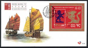 SOUTH AFRICA SC#957 HONG KONG '97 Stamp Exhibition S/S (1997) FDC