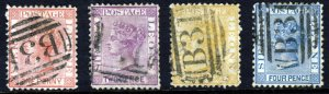 SIERRA LEONE QV 1872-73 WATERMARK CROWN CC UPRIGHT PART SET SG 11 to SG 14 VFU