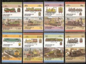 Grenadines of St. Vincent 1985 Locomotives Railway Trains Transport Sc 305-34...
