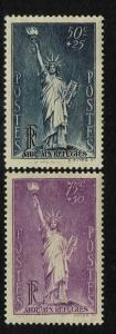 France SC# B44 and B45, Mint Hinged, Hinge Remnant, B45 Page Remnant - S1259