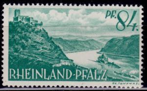 Germany, 1947-48, Rheinland-Phalz, Castles on Rhine, 84pf, sc#6N14, MLH