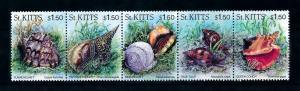 [99685] St. Kitts 1996 Marine Life Sea shells Strip MNH