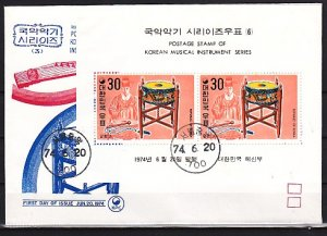 South Korea, Scott cat. 888a. Music Instruments s/sheet. First day cover. ^