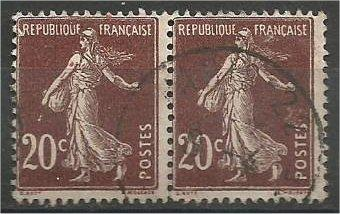 FRANCE, 1906, used 20c, Sower No Ground, Pair Scott 166