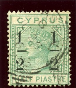 Cyprus 1886 QV ½ on ½pi emerald-green very fine used. SG 27. Sc 26a.