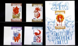 United Viet Nam Scott 2166-2170 Communist Party set and souvenir sheet