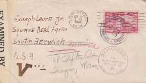 Costa Rica Censored Cover 1942 Deficiency in Address  Stamp