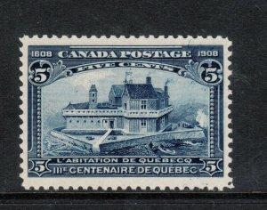 Canada #99 Very Fine Mint Line Through 1908 Quebec Major Reentry