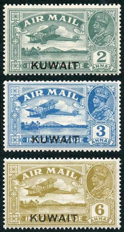 Kuwait SG31/4 1933-34 KGV Airmail Set with Opt (Missing 4a value) M/M