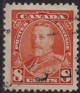 Canada 1935 KGV 8ct Orange Portrait KGV used SG 346 ( M1295 )