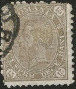 ROMANIA Scott 98 King Carol I used 1890, 15b CV$3.50