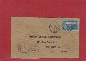 Windsor, Ont 1939 Registered 13 cent Halifax Harbour single use Canada cover