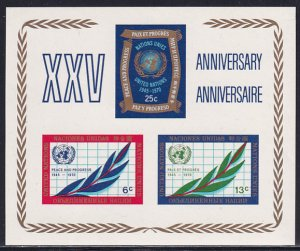 UN NY 1970 Sc 212 United Nations 25 Year Anniversary World Map Stamp SS MH