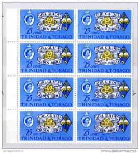 T & Tobago QEII 1964 25c Golden Jubilee of Girl Guides Block of 8 Mint MNH X3668
