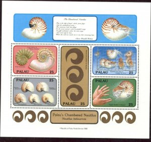 PALAU Sc#203 1988 Chambered Nautilus Shells Souvenir Sheet Set OG Mint NH