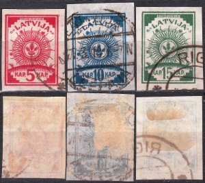 LATVIA 1919 Heraldry Redrawn: Mi.3-5 B Imperforate. NO LINES, Used