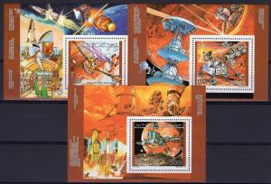 Comoro Islands 1992 Mars Exploration Usa/Russia Space 3 S/S Perforated MNH