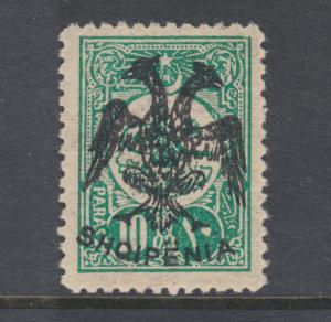 Albania Sc 5 MLH. 1913 10pa blue green with Double Headed Eagle overprint