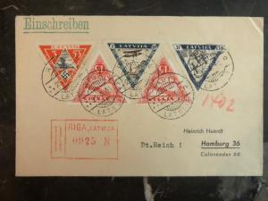1936 Riga Latvia Registered Airmail cover To Hamburg Germany # CB18-CB20