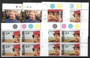 FALKLAND ISLANDS SG647/51 1992 ACCESSION IN BLOCKS OF 4 MNH