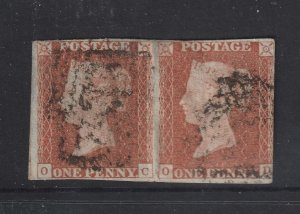 Great Britain a used joined pair of the imperf 1d brown from 1841