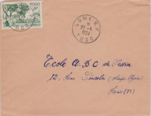 Togo 15F Houses of the Cabrals 1954 Lome R.P., Togo to Paris, France.  EUROPE...