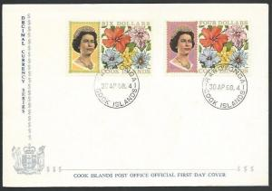 COOK IS 1968 $4 & $6 flowers definitive FDC................................11587