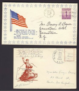 2x USA Military related covers U.S. Flag cachet & soldier riding on top of tank