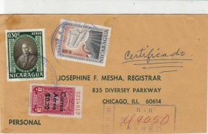 Nicaragua 1964 Registered Airmail 3x Stamps Cover to illinois USA Ref 25557