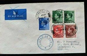 1937 Tristan Da Cunha to Liverpool England Atlantic Ocean Multi Franking Cover
