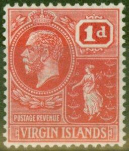 British Virgin Is 1928 1d Scarlet SG89 Fine Lightly Mtd Mint