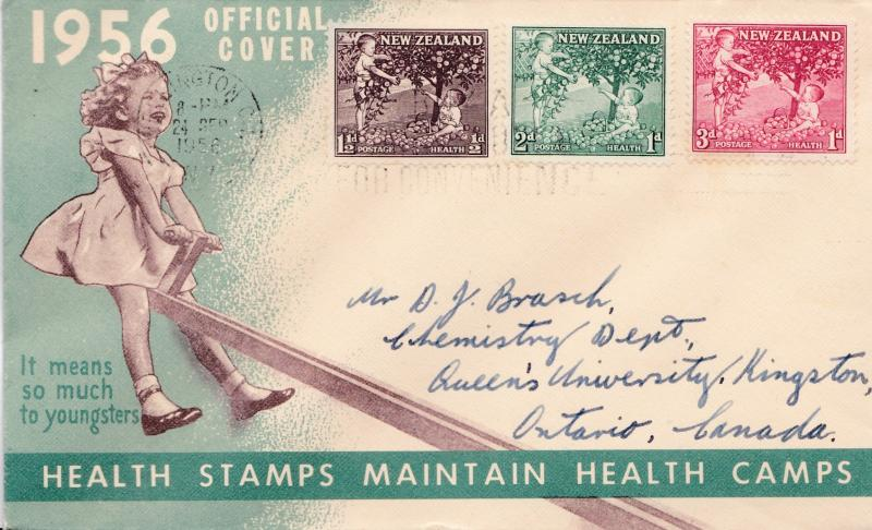 New Zealand 1956 Health Stamps Semi-Postal First Day Cover addressed to Canada.
