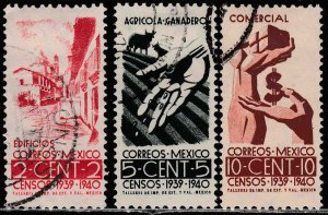 MEXICO 751-753, Census, 1940. COMPLETE SET. Used. F-VF. (900)