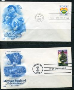 USA 2 First Day Covers Michigan Statehood Love us2028hs
