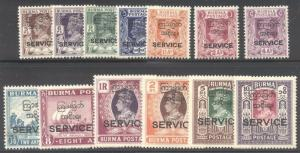 BURMA #O43-55 Mint - 1947 Officials Set