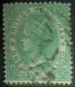 British Honduras 1872 Scott #7 One Shilling Green QV Free US Shipping