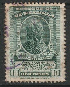 Venezuela 1950 10c used South America A4P53F65