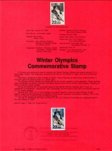 US SP822 Winter Olympics 2369 Souvenir Page FDC