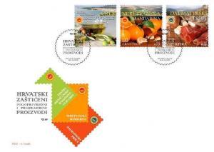CROATIA/2018, (FDC) PRO. CRO. AGR. & FOOD PRO. (Prosciutto, Tangerines, Oil) MNH