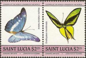St. Lucia - #734 -MNH- 1985 - Butterflies - $2.25-SCV-3.00