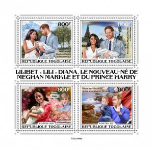 TOGO - 2021 - Lilibeth,  Harry and Meghan - Perf 4v Sheet - Mint Never Hinged
