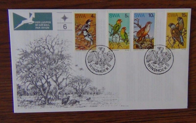 South West Africa 1974 Rare Birds on First Day Cover