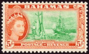Bahamas 1954 5s Bright Emerald and Orange SG214 MH