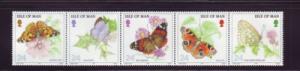 Isle of Man Sc  571a 1993 Butterflies stamp strip mint NH