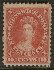 NEW BRUNSWICK 9 10c 1860 CENTS ISSUE VERMILLION QUEEN VICTORIA UNUSED XF CVOG$75