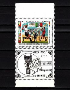 Chad, Scott cat. C88 A. Olympics-Soccer issue o/printed Munich 72 in Gold.