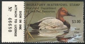 U.S.-MARYLAND 9, STATE DUCK HUNTING PERMIT STAMP WITH TAB. MINT, NH. VF